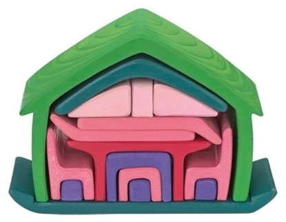 17 onderdelen die een huisje vormen, afzonderlijk te gebruiken als poppenmeubeltjes in een poppenhuis, getint in verschillende kleuren, groen, roos, rood en blauw.