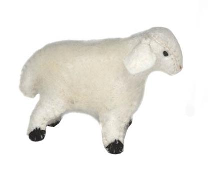 Witte lam in wolvilt.