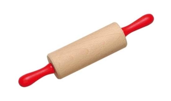 Speelgoed deegrol in natuurhout met rode houten handvaten.