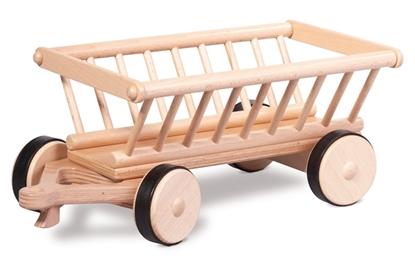 Houten hooiwagen om door de speelgoed tractor te laten trekken.