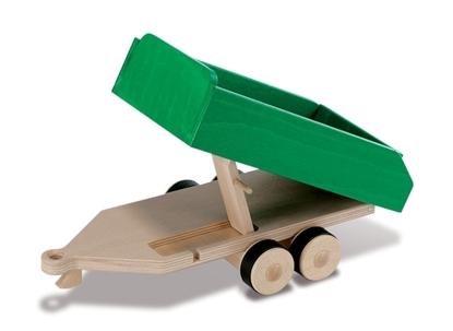 Groene houten dubbel-assige aanhangwagen,  speelgoed landbouw kipwagen.