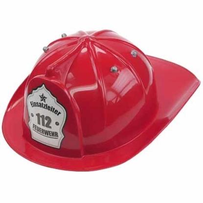Rode plastiek brandweerhelm voor kinderen. Op de voorkant staat 112, Einsatzleiter en Feuerwehr