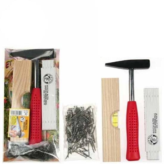 Klein set gereedschap bestaande uit een witte plooimeter, een metalen hamer met rode steel, een houten waterpas en een zakje met 100 nagels.