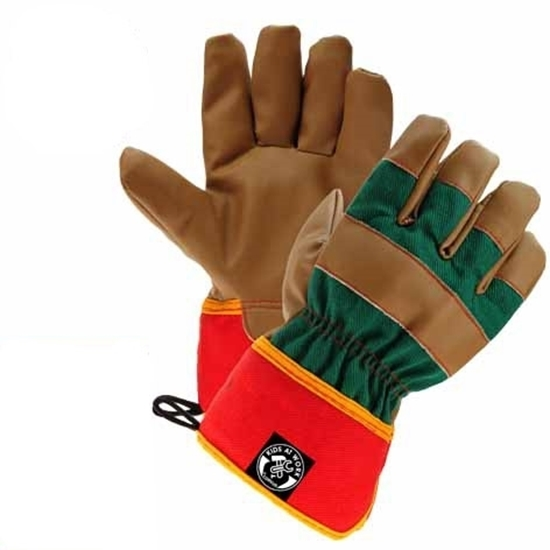 Kunstlederen kinder werkhandschoenen bruin met rode onderraand en groene rug.
