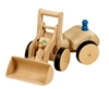 Wooden toy wheel loader with handle, rubber tires and blue figure.