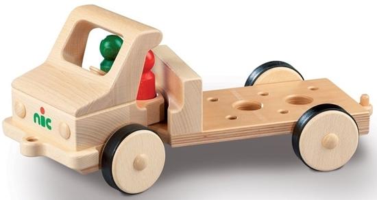 Houten vrachtwagen basis model lang, met rubberen banden om allerlei werktuigen op te plaatsen.