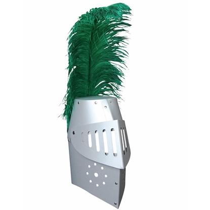 Ridderhelm gemaakt van zilver karton met vizier en groene struisvogelpluim.