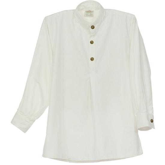 Hemd  van zuiver witte katoen met lange mouwen en houten knopen.