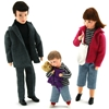Dolls for dollhouse, father, mother and small boy with Teddy bear in his arms.