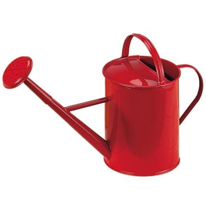 Rode metalen gieter van 1 liter inhoud voor kinderen.