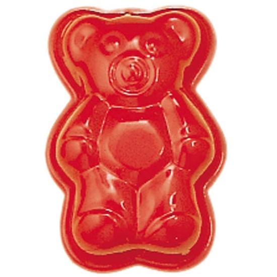 Rood gelakt metalen zandvormpje in de vorm van een beer.