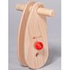 Guidon pour porteur en bois avec un bouton rouge verrou.