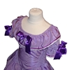 Upper part of a purple princess dress with wide collar and three mauve ribbons, two on the short sleeves and one on the chest.