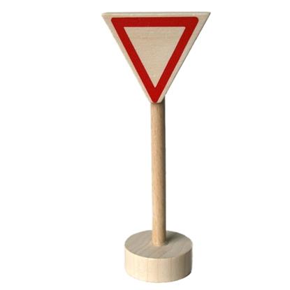 Houten voorrangsdriehoek, verkeersteken om met autootjes te spelen.
