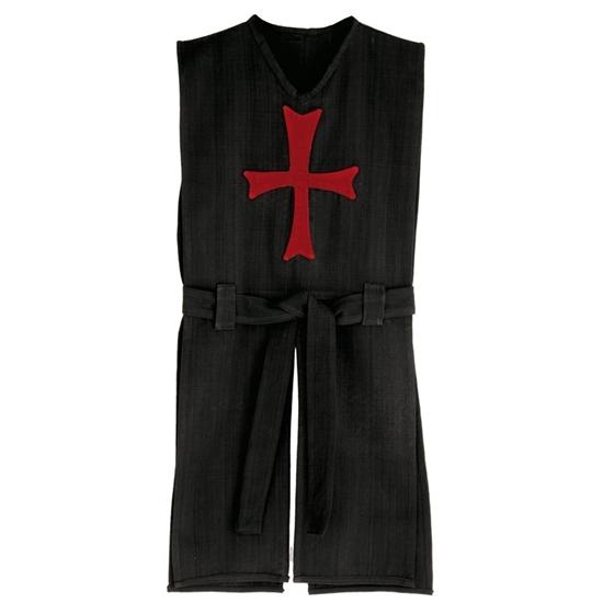 Lang zwart ridderkleed met rood kruis op de borst, van zuiver katoen met zwarte gordel in dezelfde stof.