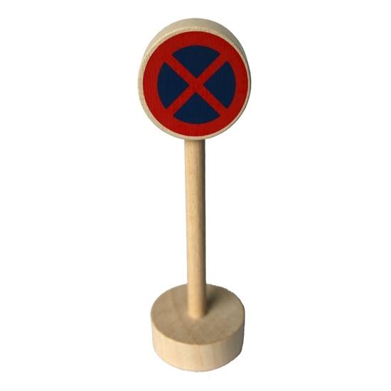 Om met de autootjes te spelen: ronde houten sokkel met houten paal en blauw rond paneel met rood x-kruis om het stationeren te verbieden.