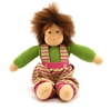 Sitting doll with brown mohair hair, painted brown eyes and spread arms. The boy doll wears a green t-shirt with long sleeves and green and pink striped trousers.