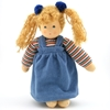 Standing doll in organic cotton with blond hair  and blue velvet gown.