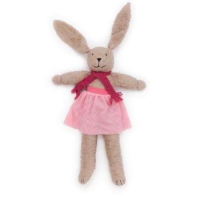 Knuffel haasje ballerina in licht bruin bio katoen met lange oren, roze tutu en donkerroze sjerp