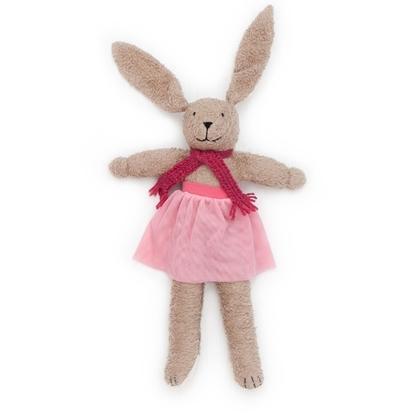 Knuffel haasje ballerina in licht bruin katoen met lange oren, roze tutu en donkerroze sjerp