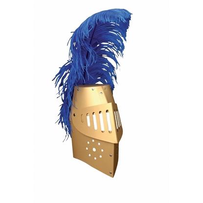 Heaume de chevalier en carton doré avec visière et plume d'autruche bleue.