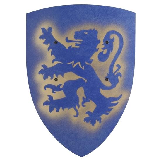 Blauw speelgoed schild gemaakt van gebogen hout en met erop afgebeeld een blauwe heraldische leeuw.