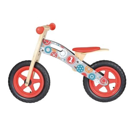 Houten loopfiets met rode kunststoffen wielen bedekt met rubber, rode zadel, rode handvaten en  wieletjes en nummer 1 op getekend.