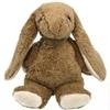 Beige knuffelkonijn in bio katoen met lange oren en zolen in witte mohair, zittend.