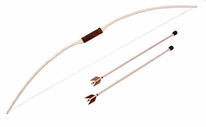 Houten kinder boog met 2 pijlen. Het grijpgedeelte van de boog en de uiteinden van de pijlen zijn van echt leder.