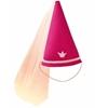 Fuchsia roze vilten prinsessen- of feeënhoed in de vorm van een kegel  met onderaan een lichtroos biesje, een lichroos kroontje en een rekker om onder de kin te bevestigen. Uit de punt valt een lichtroze tullen voile naar beneden.