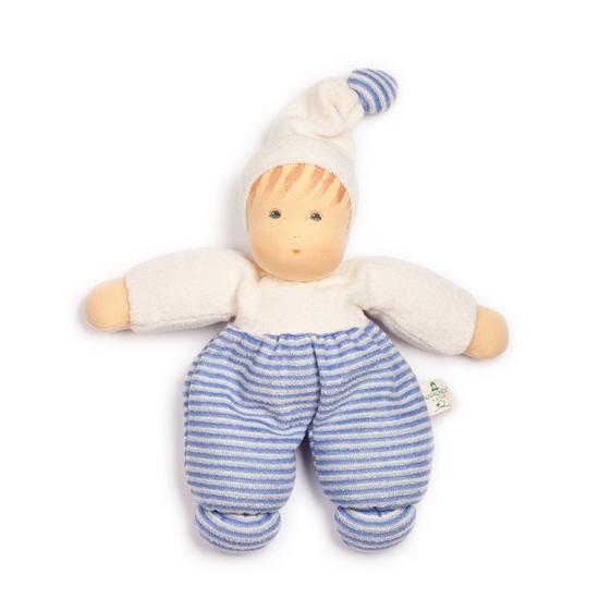 Image sur Poupée en tissu éponge rayé bleu et blanc 28cm