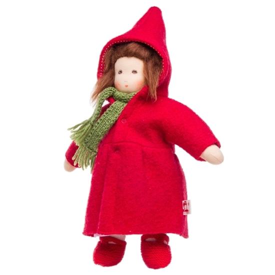 Image sur Poupée en manteau et robe rouge