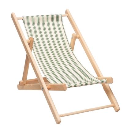 Ligstoel voor pop in beukenhout met een groen en wit gestreept zeil.
