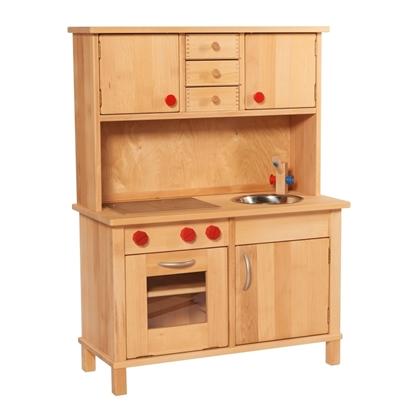Image de Cuisine de jeu en bois massif avec armoires supérieures