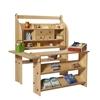 Magasin, en bois de tilleul huilé, composé d'une étagère de jeu, d'un rayon à 4 tiroirs, d'un comptoir et d'une étagère les connectant pour la stabilité, garni de produits et d'une caisse en bois.