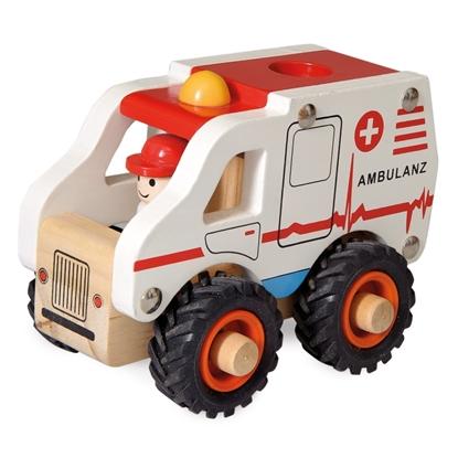 Houten speelgoed ambulance, wit met rood dak, zwarte  rubberen banden, met een bestuurder.