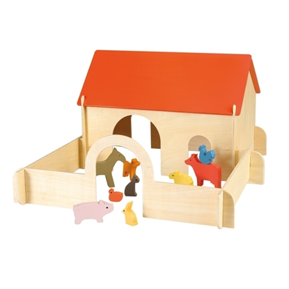 Image de Ferme jouet en bois avec animaux de ferme