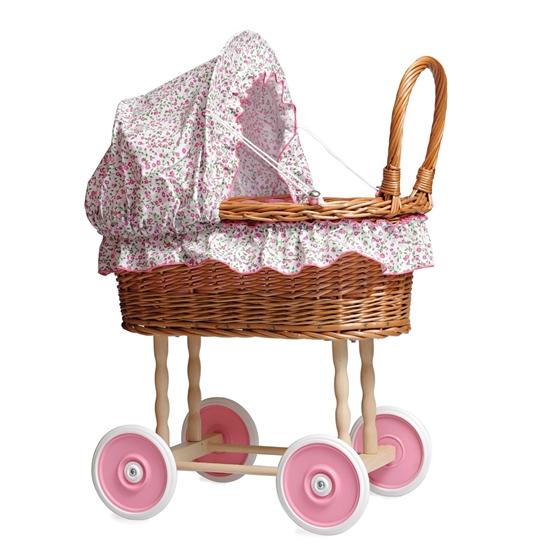Image sur Landau de poupée en osier avec doublure florale