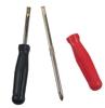 2 tournevis réversibles: l'insert métallique du tournevis rouge est retiré, celui du noir est inséré et peut être inséré de deux manières: comme tournevis à croisillon et comme tournevis standard.