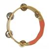 Natuurkleurige houten ring met daarin 5 openingen die dubbele koperen schijfjes dragen die rinkelen als je ze schudt. Een vierde van de ring draagt geen schijfjes en is oranje geverfd.