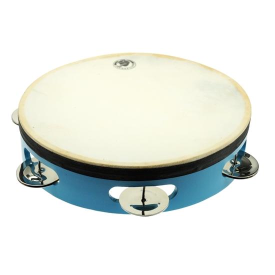 Blauwe houten ring bespannen met een natuurlijke huid. De ring draagt 4 openingen waarin 2 koperen schijfjes zitten die rinkelen als je die schudt.