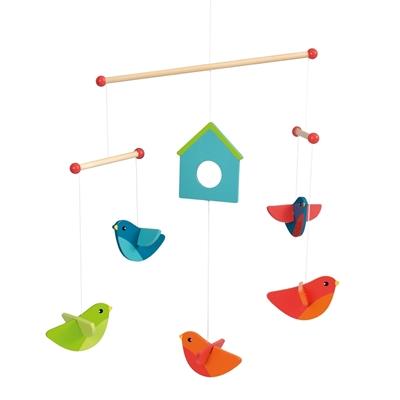 Image de Mobile avec des oiseaux multicolores en bois