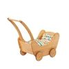 Poppenwagen in massief elzenhout met veelkleurig beddengoed.