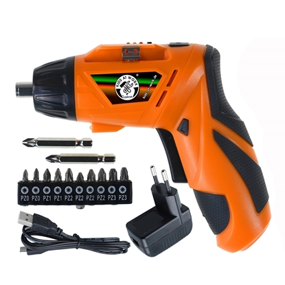 Oranje accuschroevendraaier op kindermaat, 4,8 Volt-lithium batterij, 12 verschillende schroefdoppen en lader.
